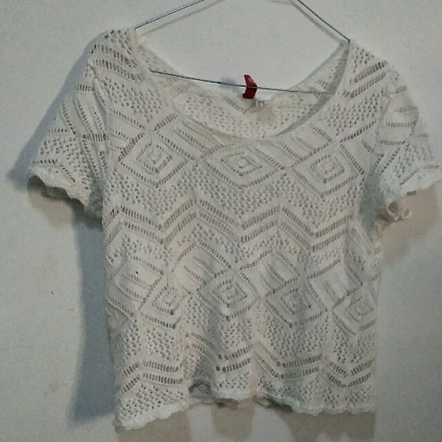 h&m divided top white