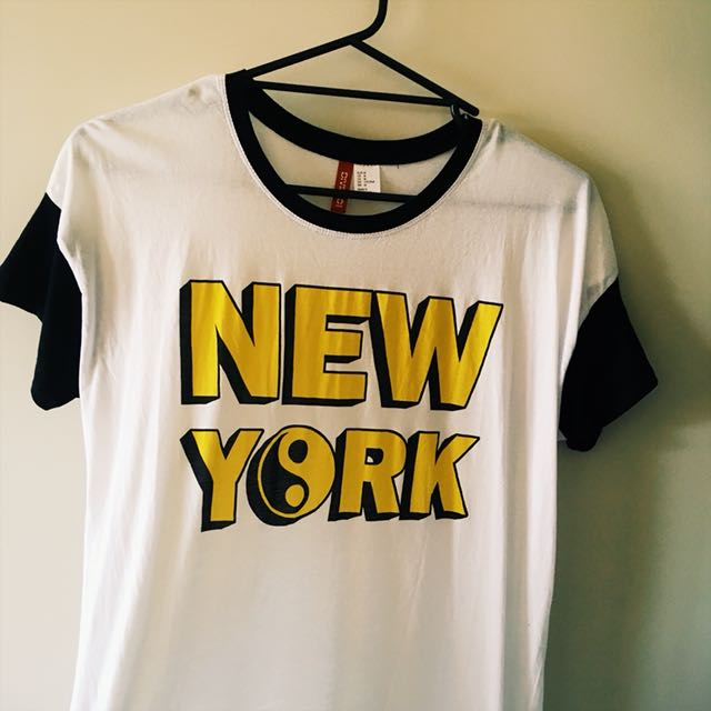 h&m 'new york' graphic ringer tee with ying yang design, women's size medium