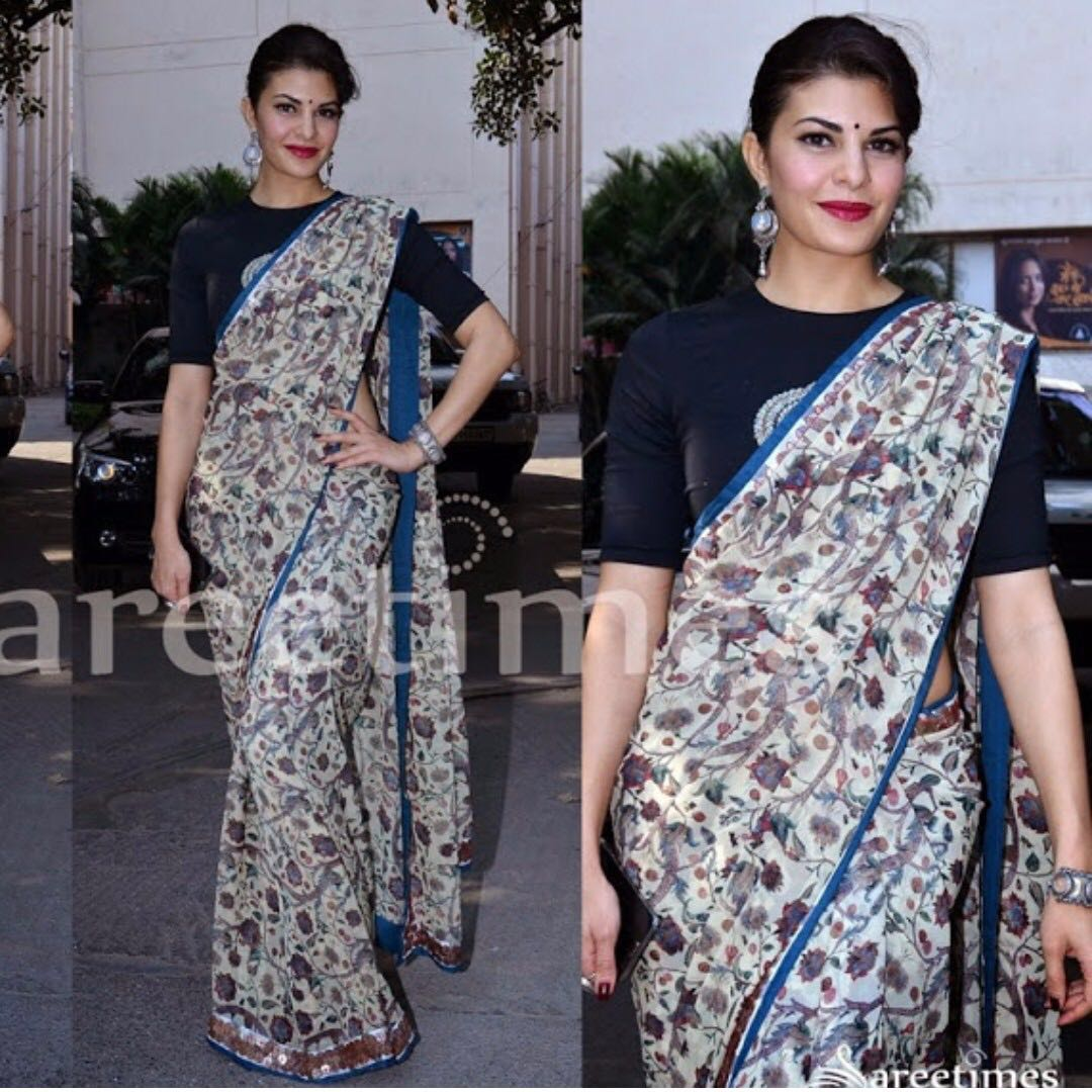 Indian Designer Saree/Sari - Anamika Khanna- As seen on Bollywood Actress Jaqueline Fernandez