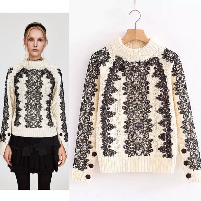 f5975bc6e Inspired Zara Cable Knit Sweater With Lace