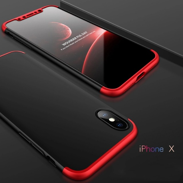 iPhone X 360 Full Protection Matte Hybrid Case + FREE Glass