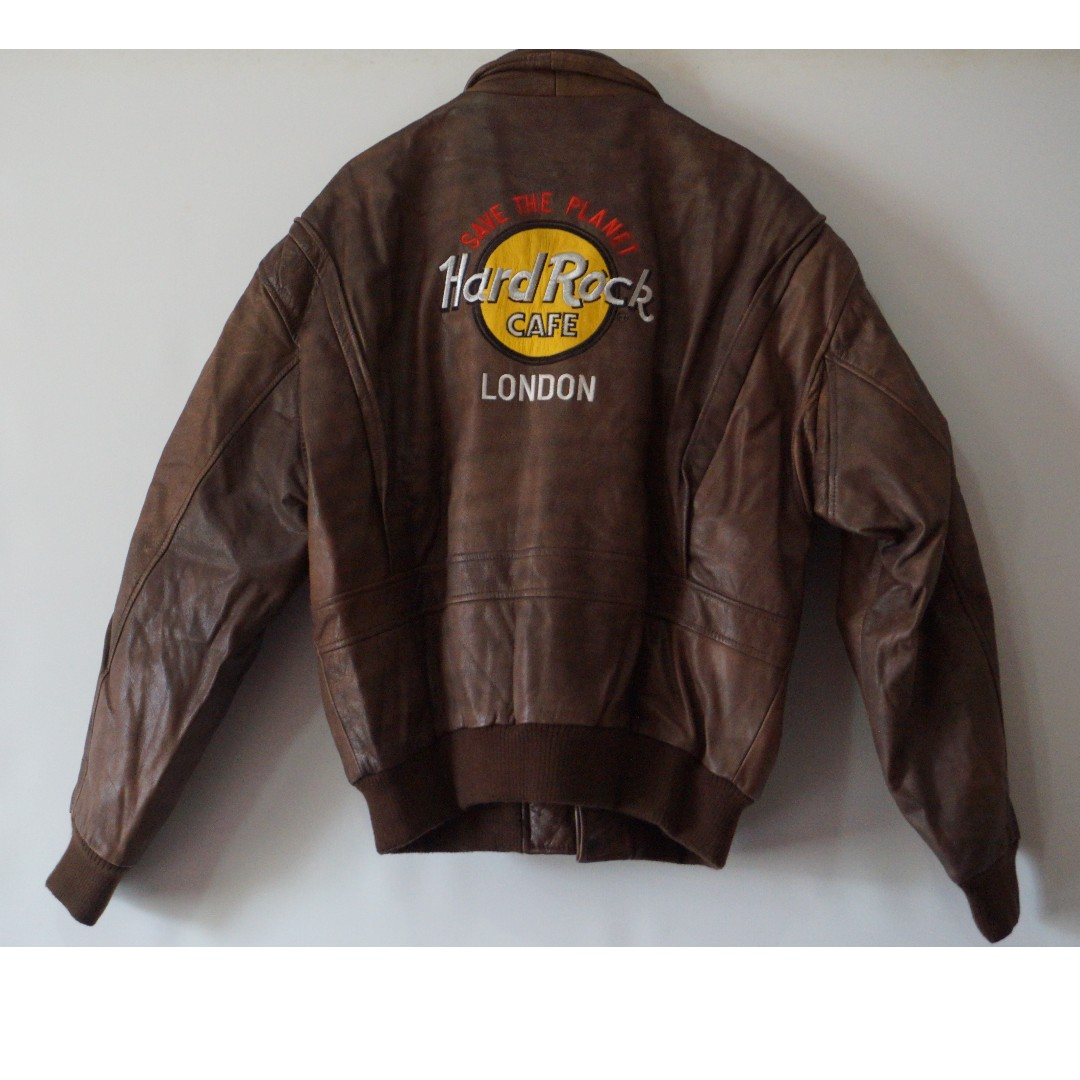 Jaket Kulit VINTAGE #Hard Rock - London#Size-L#Original From London, Men's Fashion, Men's Clothes, Outerwear on Carousell