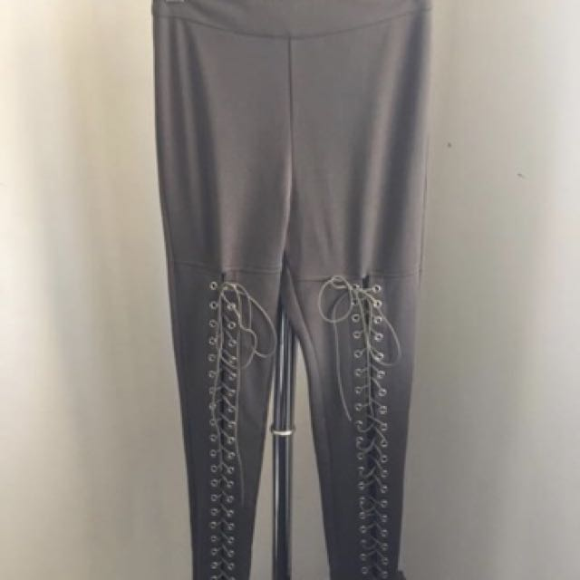 Khaki Lace up Pants size 6 Brand new with tags