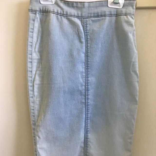 Light wash denim midi skirt, size 8