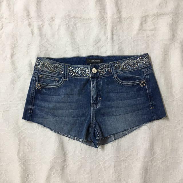 Maong beaded short shorts