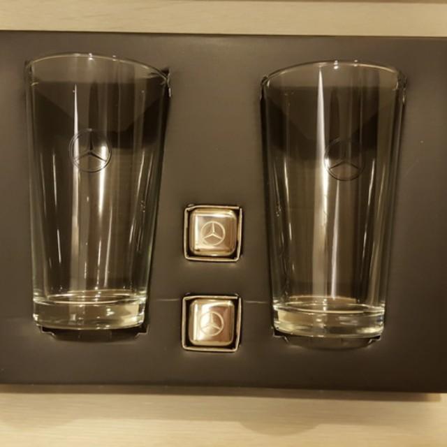 全新-賓士Mercedes-Benz 經典水杯冰石組/內含玻璃杯×2+#304不鏽鋼冰酒石×2