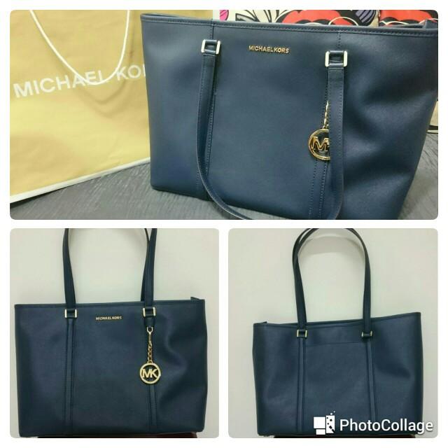 MICHAEL KORS 素面PVC皮革肩背/手提購物包(寶藍色)35T7GD4T7L