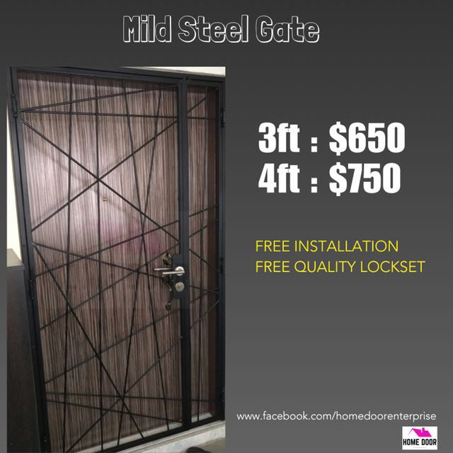 Mild steel gate for hdb bto furniture home decor on for Iron gate motor condos for sale