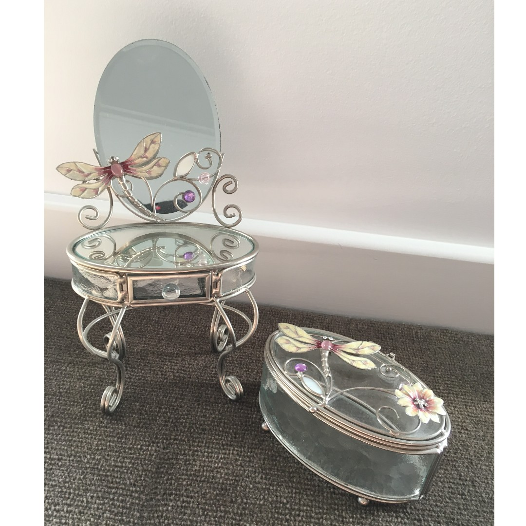 Mirror Vanity and Jewellery Box set (dragonfly details)