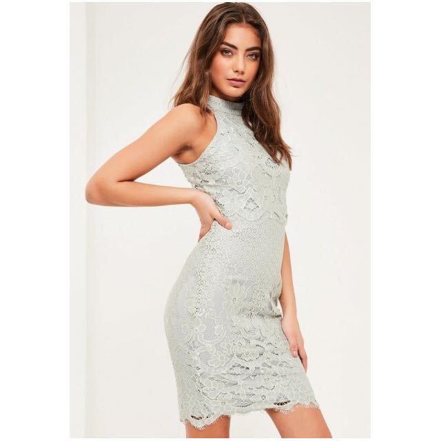 Missguided Floral Double Layer Midi Dress - Grey Size 8