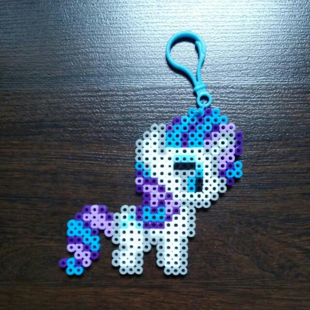 Mlp Rarity Perler Beads Keychain Pony Size 12 X 10 5cm