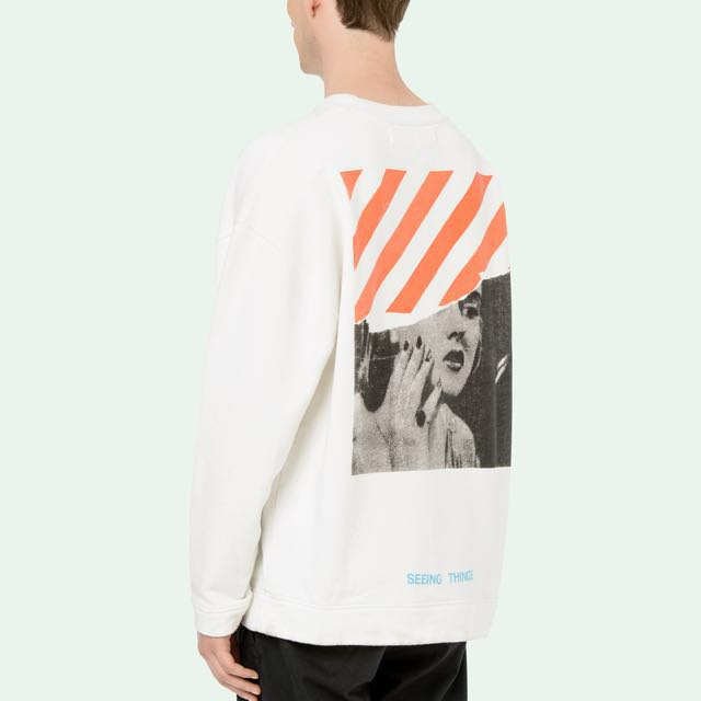 Off White Seeing Things Sweater Mens Fashion Clothes On Carousell