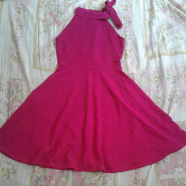 Preloved Halter Fuschia Dress