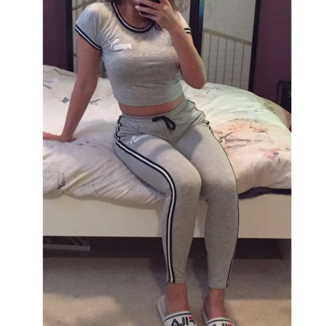 Puma customised crop top leggings set