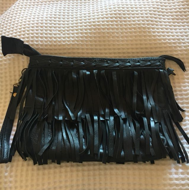 Pure labelled real leather clutch