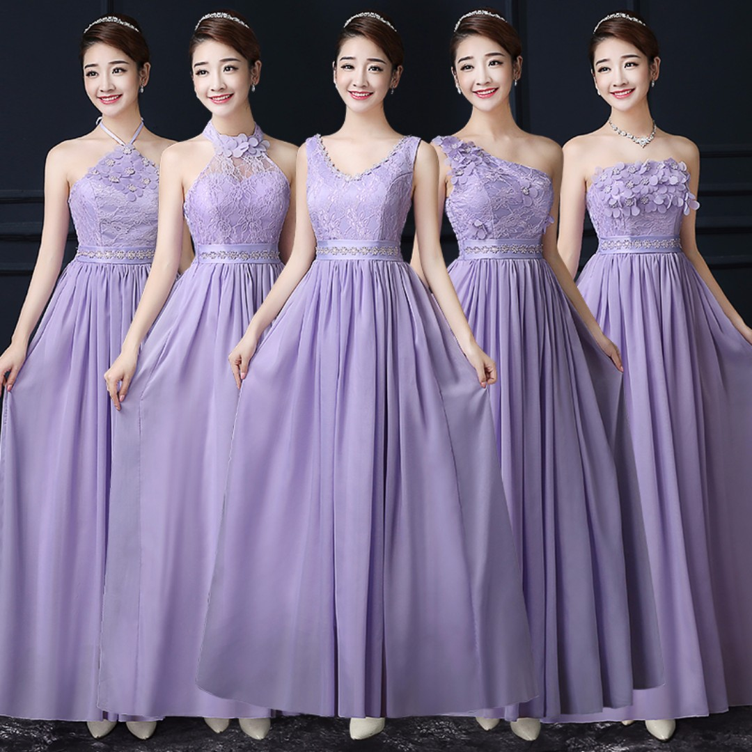 Purple / Pink / Champagne / White> Bridesmaid Tube / Off Shoulder ...
