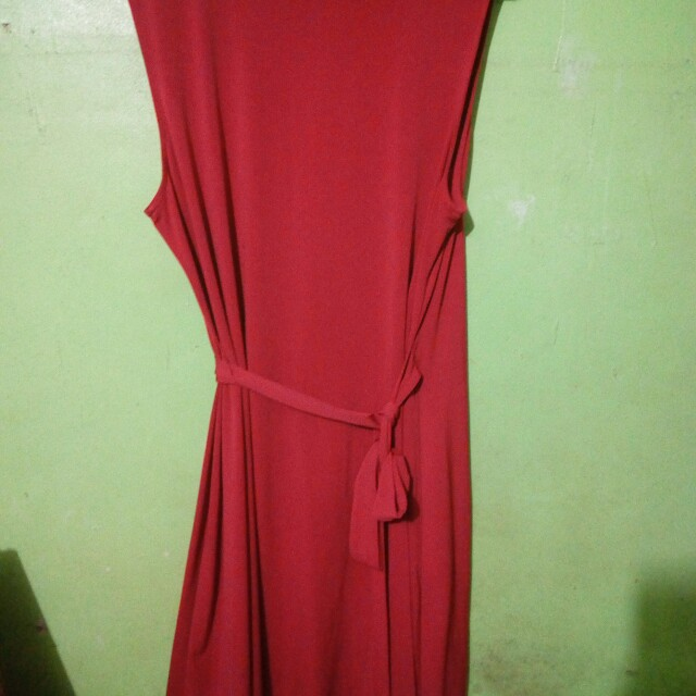 Red soft velvet dress