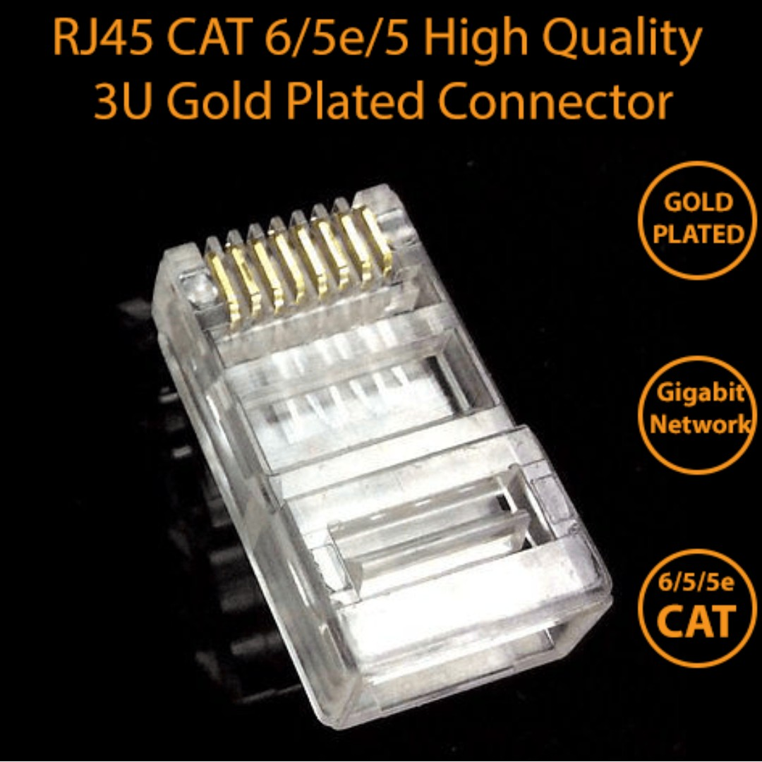 Rj45 8p8c Cat6 5 5e Modular Plug Connector High Quality Gold Plated Cat 6 Photo