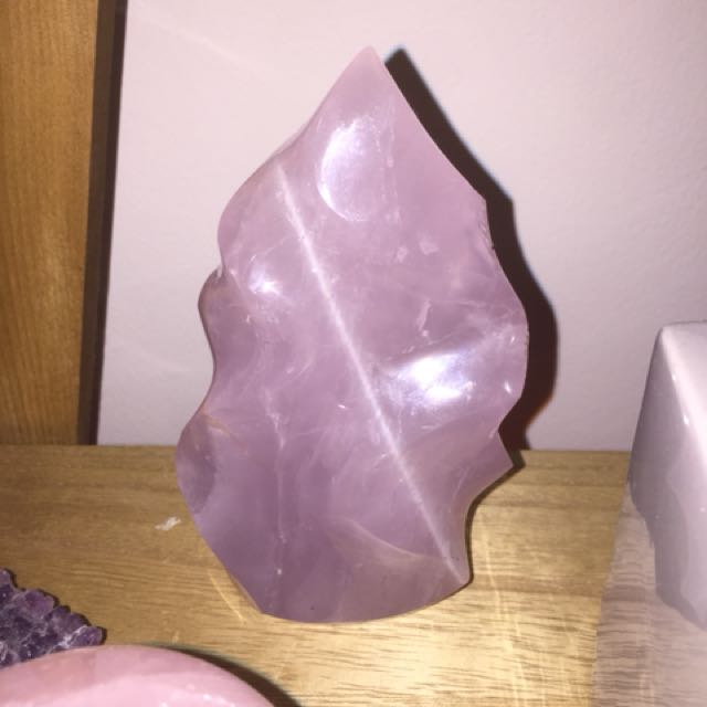 Rose Quartz Self Standing Flame