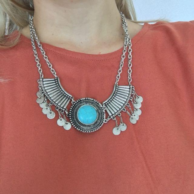 Sportsgirl Boho gypsy festival silver coin turquoise necklace