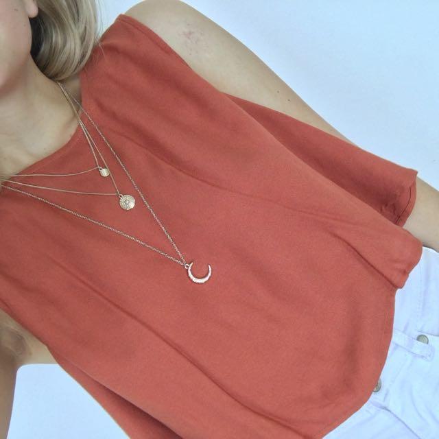 Sportsgirl Layered Necklace crescent moon boho festival