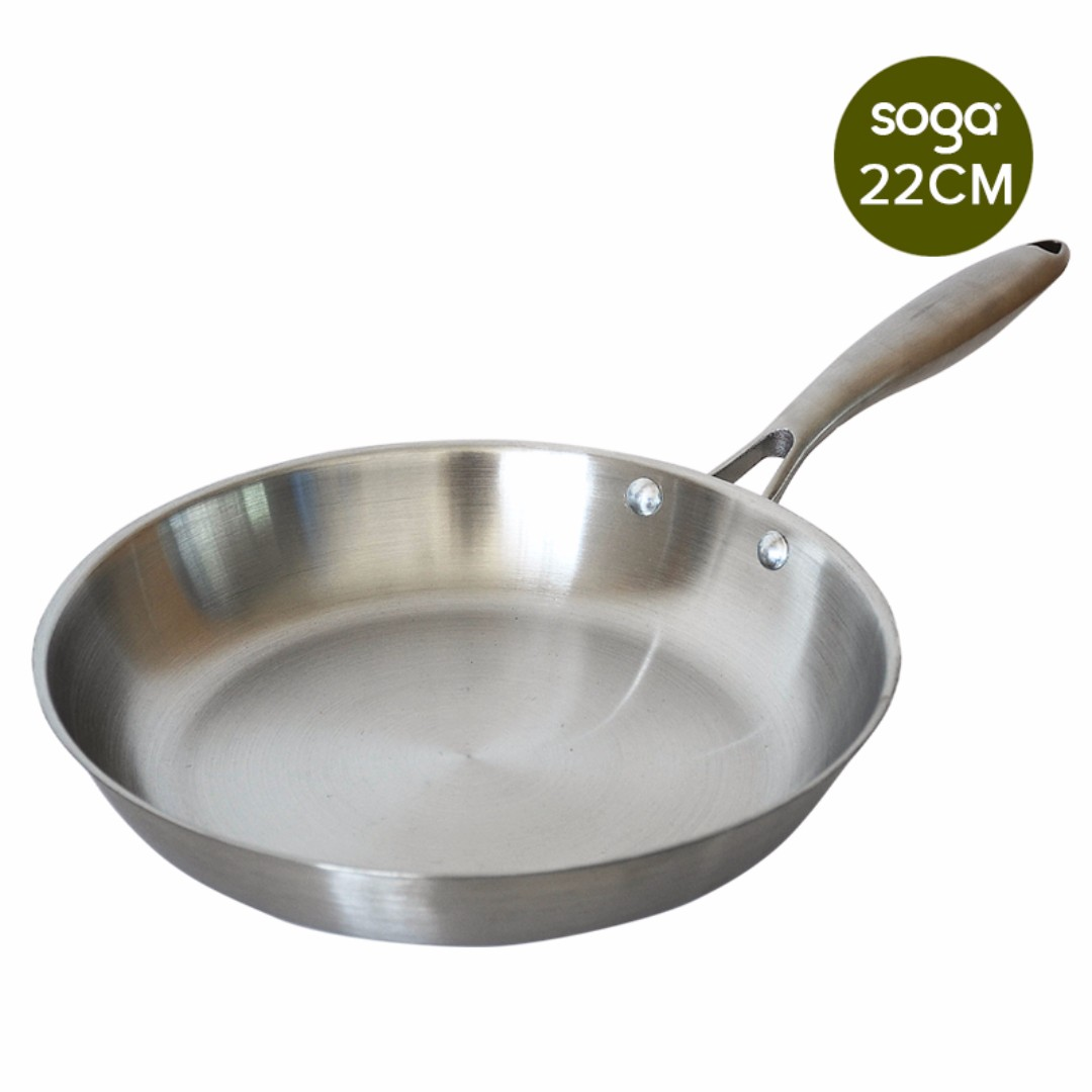 Stainless Steel Fry Pan 220*H43mm Frying Pan Top Grade Induction Cooking Pan