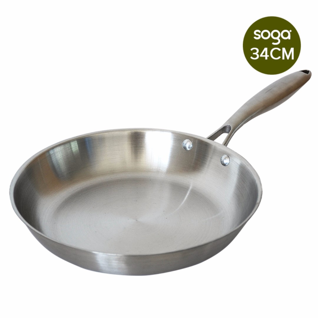 Stainless Steel Fry Pan 340*H55mm Frying Pan Top Grade Induction Cooking Pan