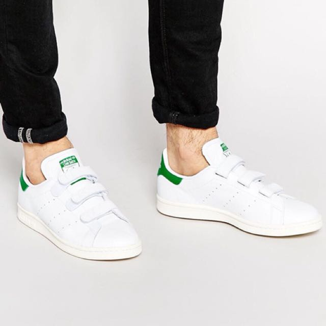 promo code cee36 c9855 Authentic Adidas Stan Smith Velcro White and Green, Men's ...