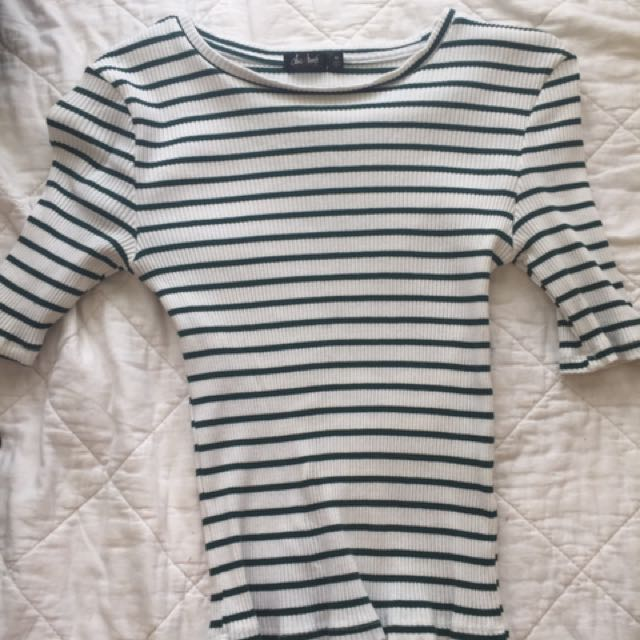Stripped story sleeve striped top-Small