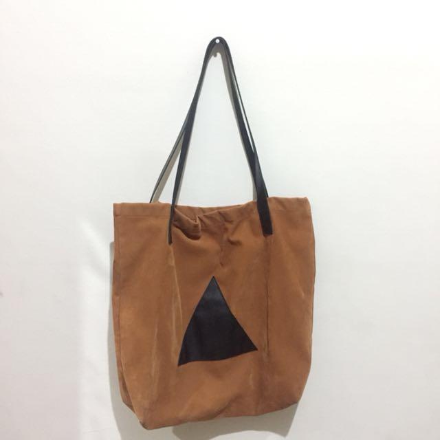 Suede Brown Tote Bag