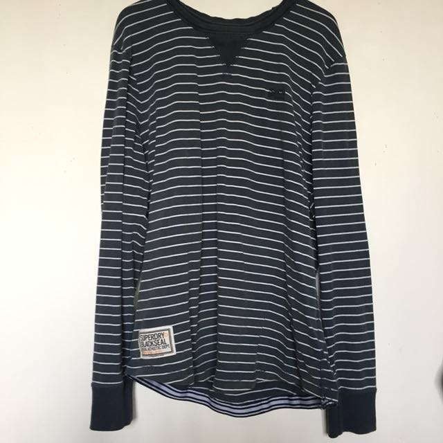 Superdry Blackseal Blue and White Striped Long-sleeve T-shirt size XL