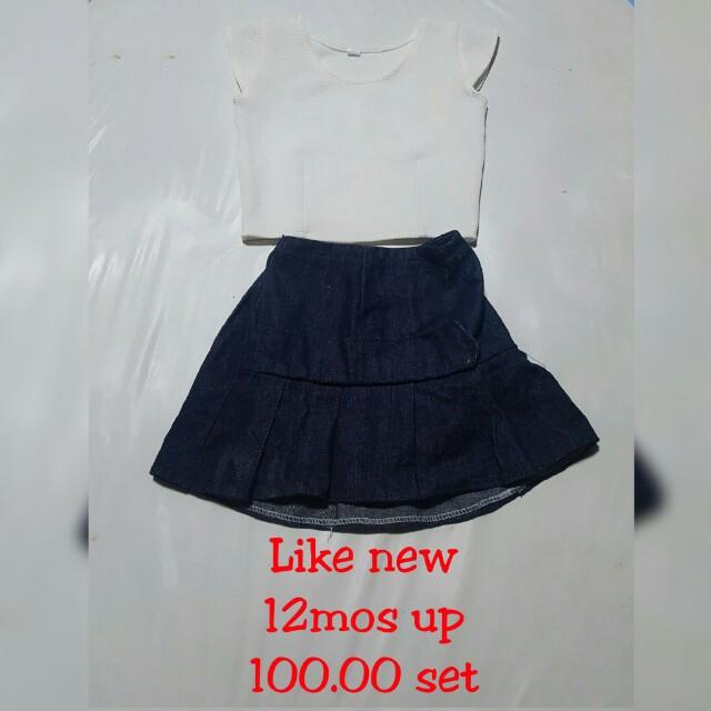 Terno soft denim skirt and blouse