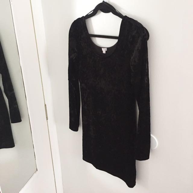 Velvet Bodycon Dress - L