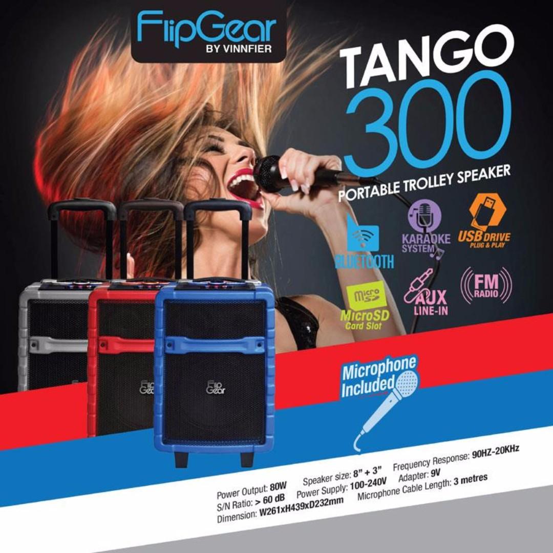 VINNFIER TANGO 300 PORTABLE LOUD SPEAKER BT,USB,FM,SD&MIC RMS 12WATT