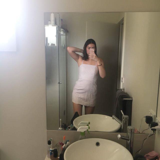 White and mauve striped dress