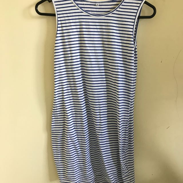 White blue striped dress, size S