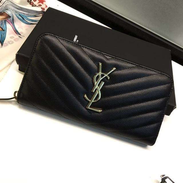 f8c7c13aa877 Yves Saint Laurent YSL zip wallet