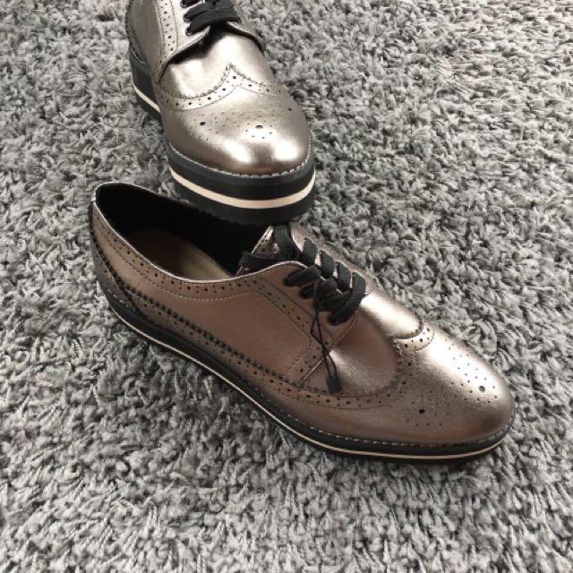 Zara platform bluchers charcoal grey