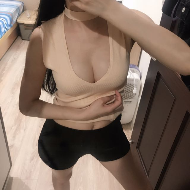 Zara深V性感掛脖針織背心上衣 膚S