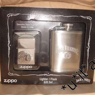美國 Zippo 打火機連酒壺套裝24652 JackDaniel's Lighter with Flask (Gift Set) JACK DANIEL'S