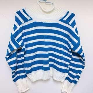 藍白條紋高領毛衣