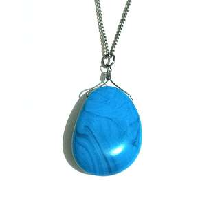 Necklace with faux turquoise pendant
