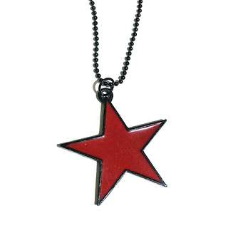 Star pendant with black ball ring chain