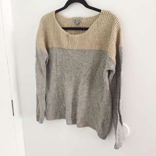 Colour Block Knit Sweater - L