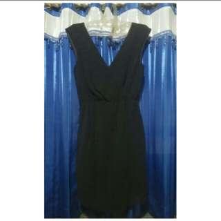 WAREHOUSE BLACK WRAP DRESS