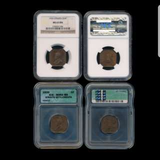Straits Settlement George V 1 Cent (KM.32) 1920 NGC MS63BN ICG MS62BN 2pcs