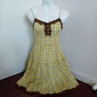 Brand New Sunnygirl Yellow With Floral Prints And Brown Lace Detailing Spaghetti String Singlet Flowy Dress