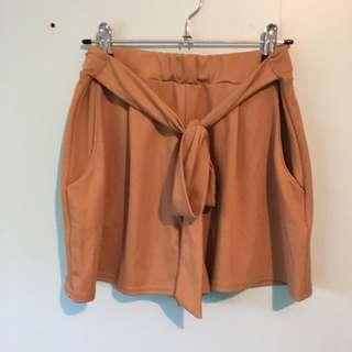 Tan tie up shorts