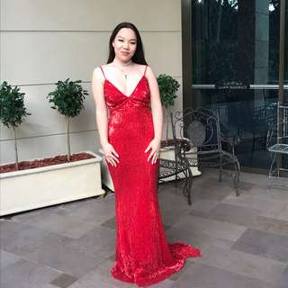 Red Sequin Formal Dress