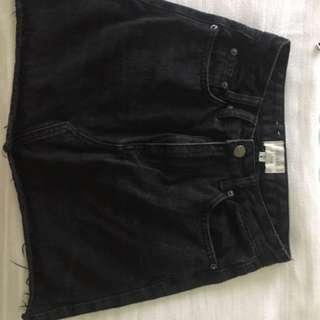 General pants insight denim skirt black